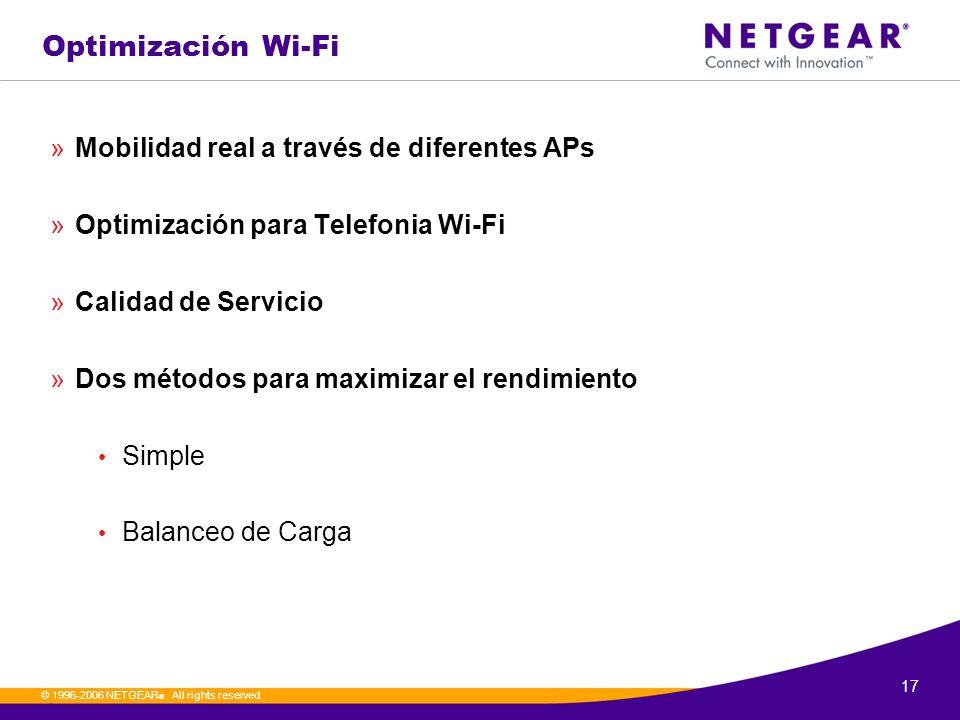 17. © 1996-2006 NETGEAR ®. All rights reserved Optimización Wi-Fi »Mobilidad real a través de diferentes APs »Optimización para Telefonia Wi-Fi »Calid