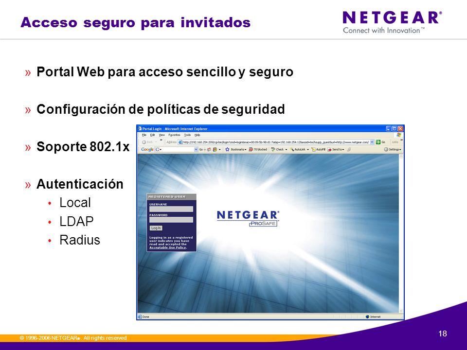 18. © 1996-2006 NETGEAR ®. All rights reserved Acceso seguro para invitados »Portal Web para acceso sencillo y seguro »Configuración de políticas de s