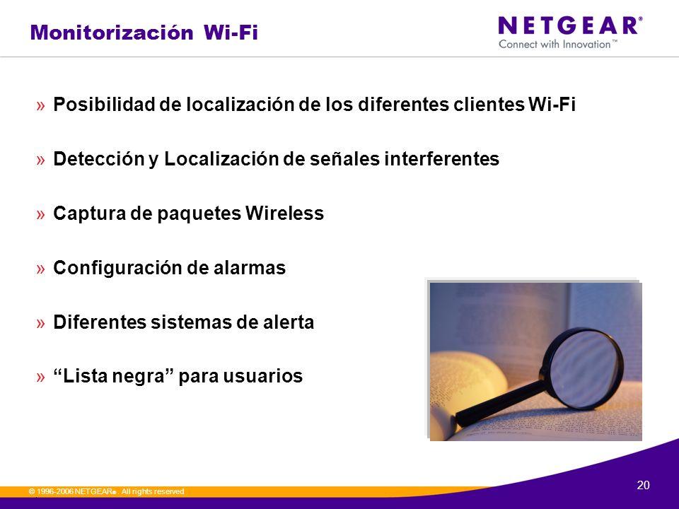 20. © 1996-2006 NETGEAR ®. All rights reserved Monitorización Wi-Fi »Posibilidad de localización de los diferentes clientes Wi-Fi »Detección y Localiz