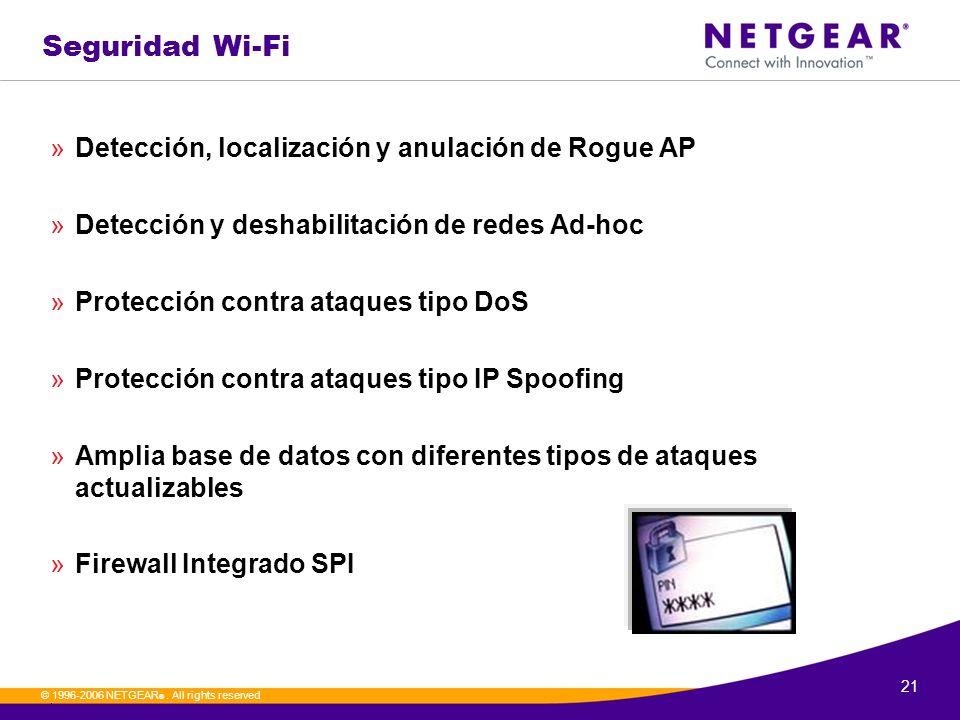 21. © 1996-2006 NETGEAR ®. All rights reserved Seguridad Wi-Fi »Detección, localización y anulación de Rogue AP »Detección y deshabilitación de redes