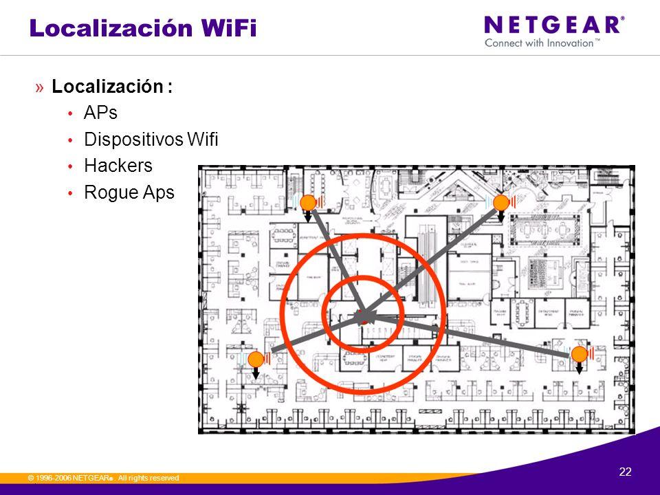 22. © 1996-2006 NETGEAR ®. All rights reserved Localización WiFi »Localización : APs Dispositivos Wifi Hackers Rogue Aps