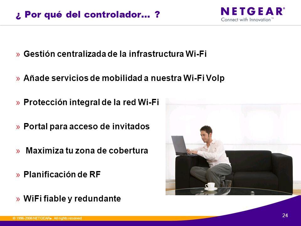24. © 1996-2006 NETGEAR ®. All rights reserved ¿ Por qué del controlador… ? »Gestión centralizada de la infrastructura Wi-Fi »Añade servicios de mobil