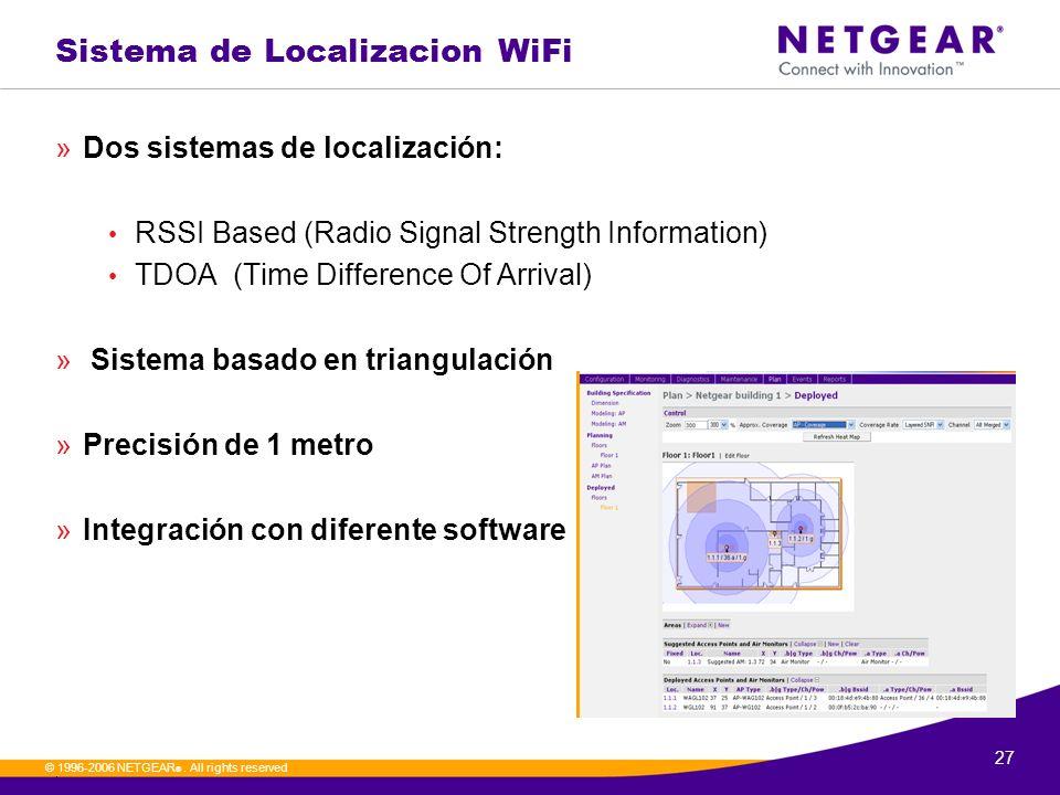 27. © 1996-2006 NETGEAR ®. All rights reserved Sistema de Localizacion WiFi »Dos sistemas de localización: RSSI Based (Radio Signal Strength Informati