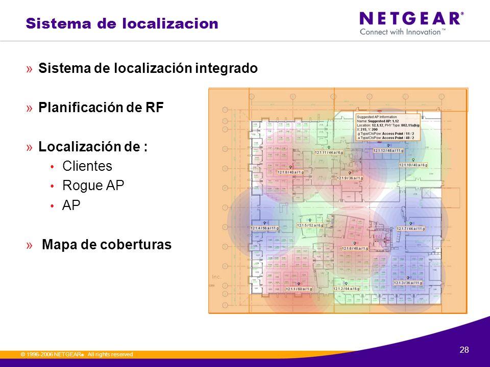 28. © 1996-2006 NETGEAR ®. All rights reserved Sistema de localizacion »Sistema de localización integrado »Planificación de RF »Localización de : Clie