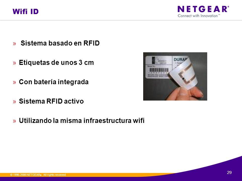 29. © 1996-2006 NETGEAR ®. All rights reserved Wifi ID » Sistema basado en RFID »Etiquetas de unos 3 cm »Con batería integrada »Sistema RFID activo »U