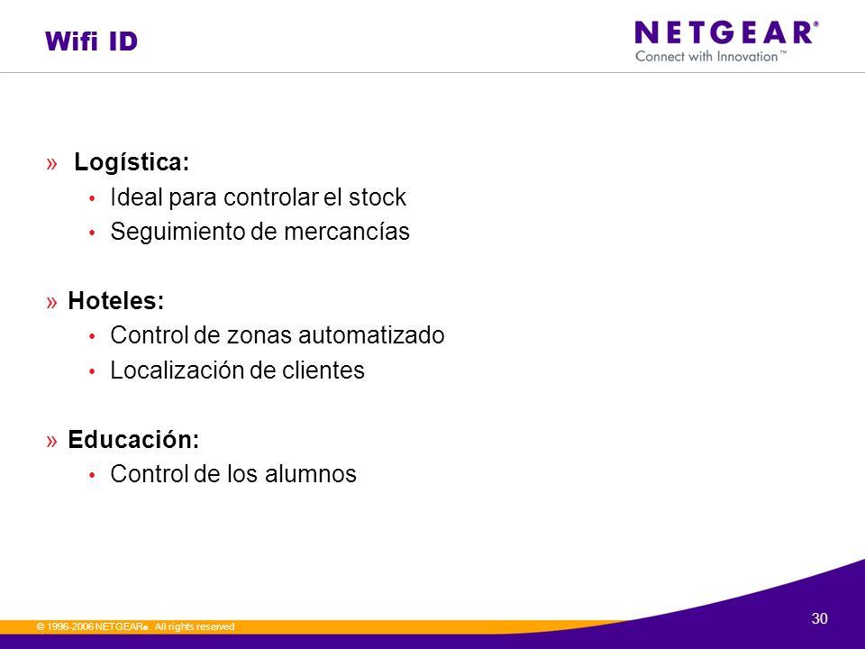30. © 1996-2006 NETGEAR ®. All rights reserved Wifi ID » Logística: Ideal para controlar el stock Seguimiento de mercancías »Hoteles: Control de zonas