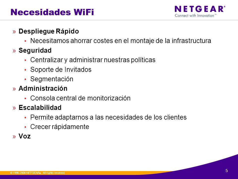5. © 1996-2006 NETGEAR ®. All rights reserved Necesidades WiFi »Despliegue Rápido Necesitamos ahorrar costes en el montaje de la infrastructura »Segur