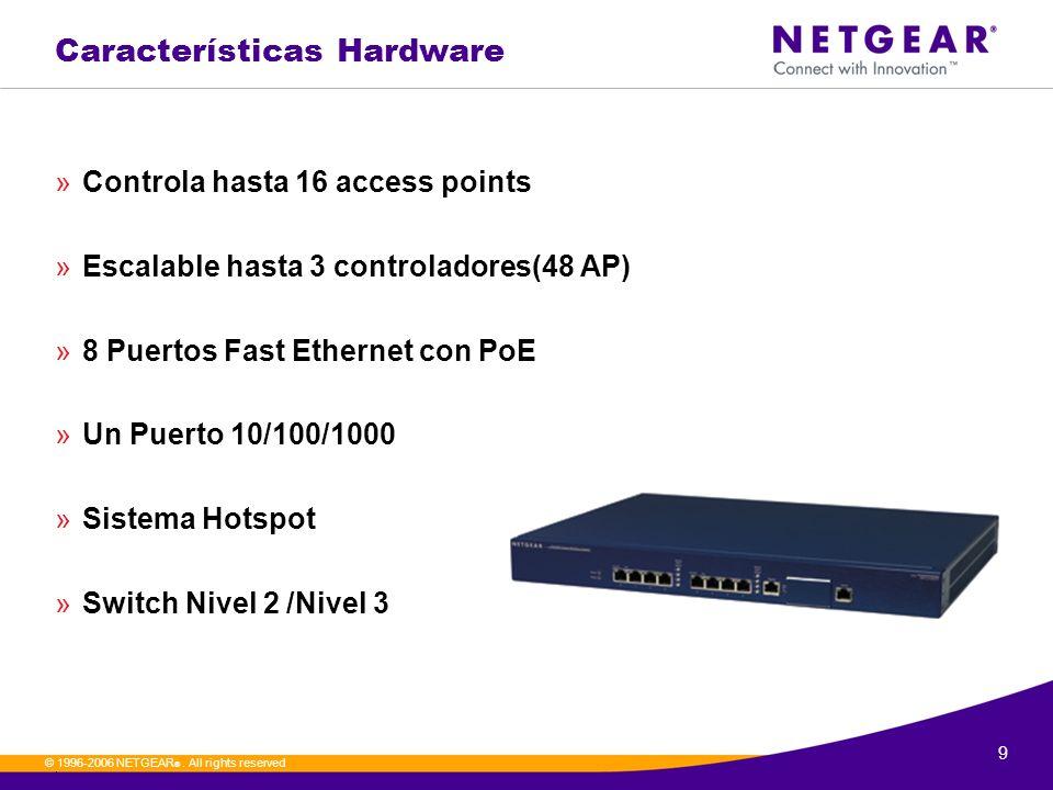 9. © 1996-2006 NETGEAR ®. All rights reserved Características Hardware »Controla hasta 16 access points »Escalable hasta 3 controladores(48 AP) »8 Pue