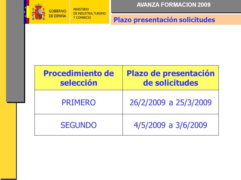 AVANZA FORMACION 2009 Procedimiento de selección Plazo de presentación de solicitudes PRIMERO26/2/2009 a 25/3/2009 SEGUNDO4/5/2009 a 3/6/2009 Plazo presentación solicitudes