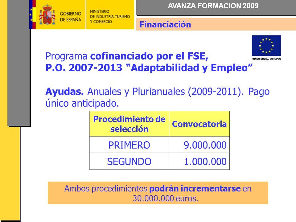 AVANZA FORMACION 2009 Financiación Programa cofinanciado por el FSE, P.O.