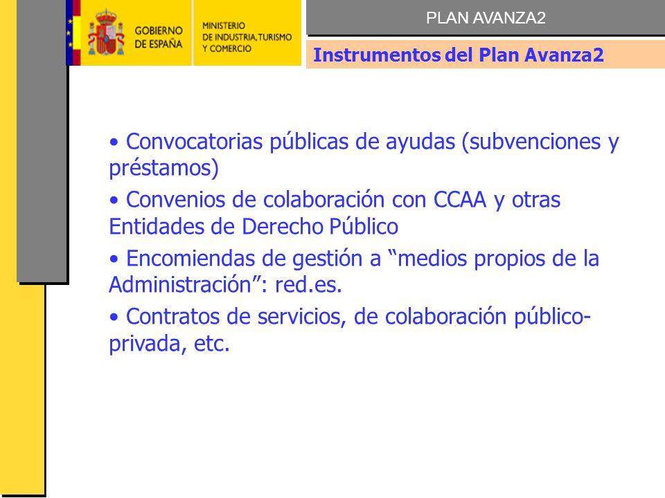AVANZA FORMACION 2009 Convocatorias públicas de ayudas (subvenciones y préstamos) Convenios de colaboración con CCAA y otras Entidades de Derecho Público Encomiendas de gestión a medios propios de la Administración: red.es.