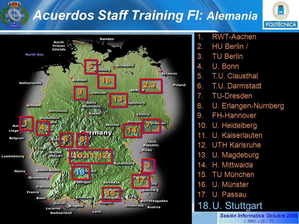 Sesión Informativa Octubre 2009 V.RRII – OI - FI Acuerdos Staff Training FI: Alemania 1.RWT-Aachen 2.HU Berlin / 3.TU Berlin 4.U. Bonn 5.T.U. Claustha
