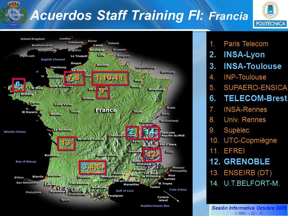 Sesión Informativa Octubre 2009 V.RRII – OI - FI 1.Paris Telecom 2.INSA-Lyon 3.INSA-Toulouse 4.INP-Toulouse 5.SUPAERO-ENSICA 6.TELECOM-Brest 7.INSA-Rennes 8.Univ.