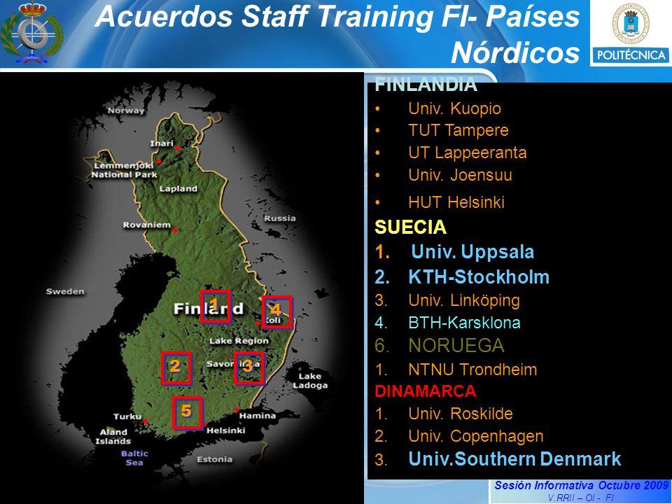 Sesión Informativa Octubre 2009 V.RRII – OI - FI Acuerdos Staff Training FI- Países Nórdicos FINLANDIA Univ.