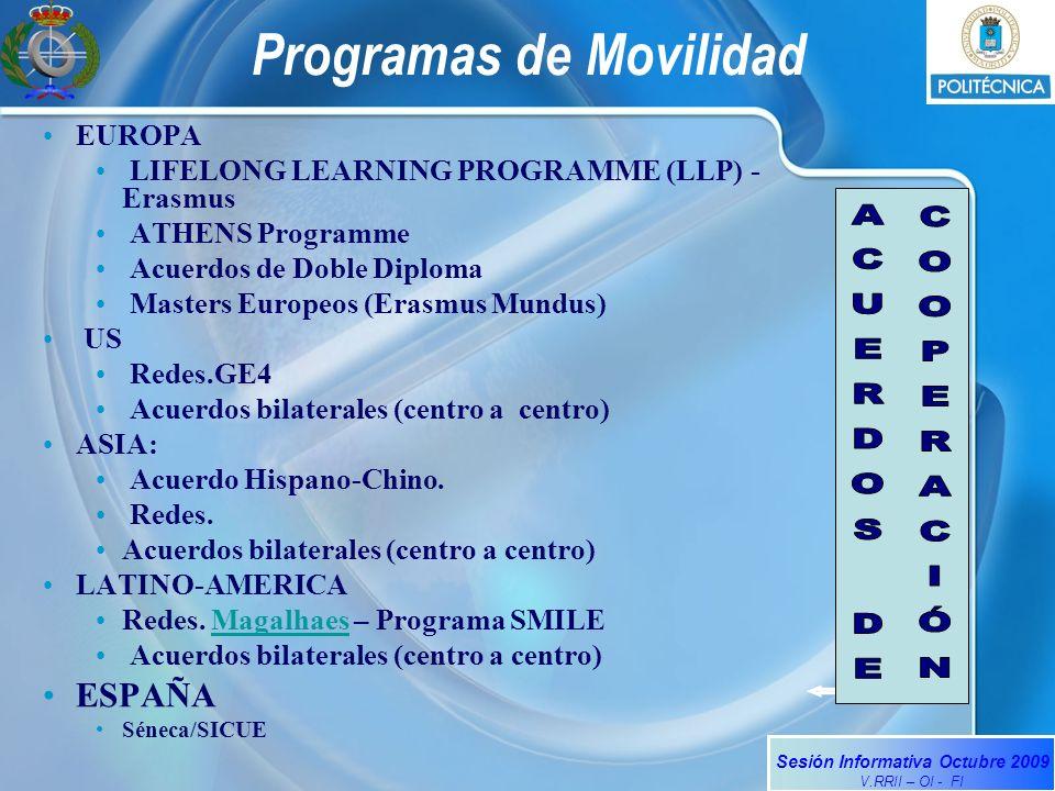 Sesión Informativa Octubre 2009 V.RRII – OI - FI Programas de Movilidad EUROPA LIFELONG LEARNING PROGRAMME (LLP) - Erasmus ATHENS Programme Acuerdos de Doble Diploma Masters Europeos (Erasmus Mundus) US Redes.GE4 Acuerdos bilaterales (centro a centro) ASIA: Acuerdo Hispano-Chino.