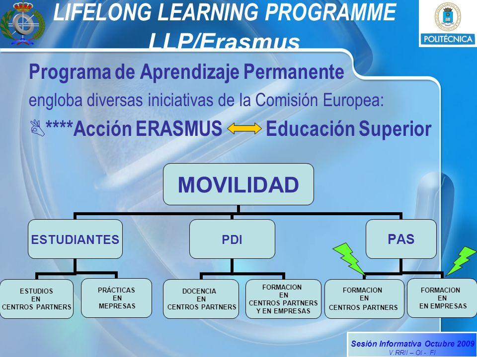 Sesión Informativa Octubre 2009 V.RRII – OI - FI LIFELONG LEARNING PROGRAMME LLP/Erasmus Programa de Aprendizaje Permanente engloba diversas iniciativas de la Comisión Europea: ****Acción ERASMUS Educación Superior MOVILIDAD ESTUDIANTES ESTUDIOS EN CENTROS PARTNERS PRÁCTICAS EN MEPRESAS PDI DOCENCIA EN CENTROS PARTNERS FORMACION EN CENTROS PARTNERS Y EN EMPRESAS PAS FORMACION EN CENTROS PARTNERS FORMACION EN EN EMPRESAS