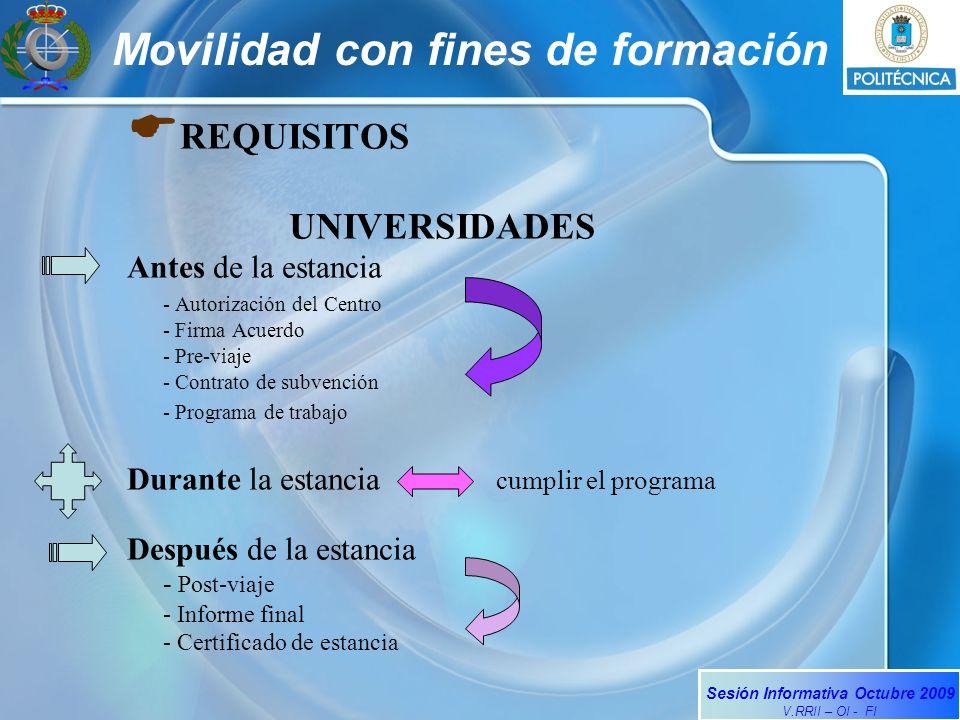Sesión Informativa Octubre 2009 V.RRII – OI - FI Movilidad con fines de formación REQUISITOS UNIVERSIDADES Antes de la estancia - Autorización del Cen