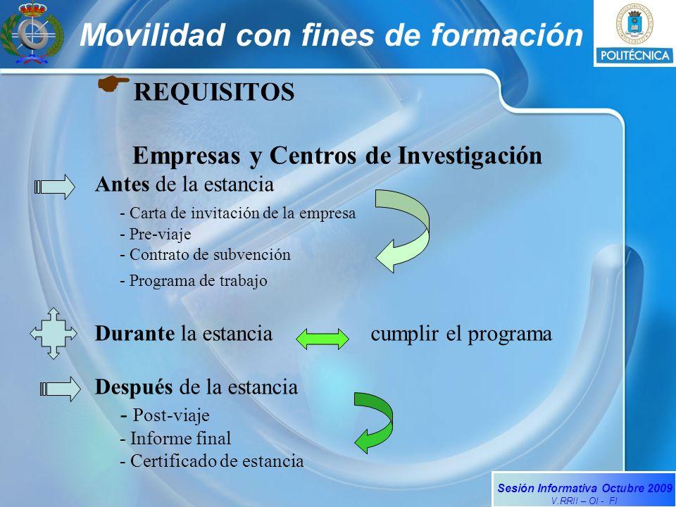Sesión Informativa Octubre 2009 V.RRII – OI - FI Movilidad con fines de formación REQUISITOS Empresas y Centros de Investigación Antes de la estancia