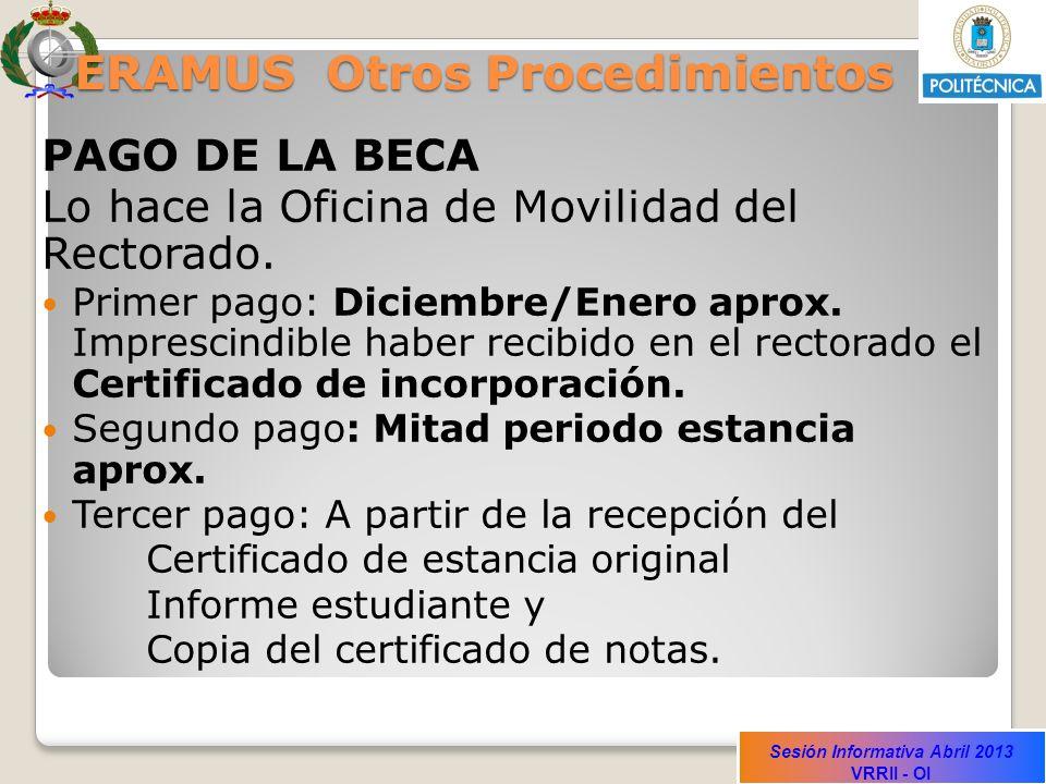 Sesión Informativa Abril 2013 VRRII - OI ERAMUS Otros Procedimientos PAGO DE LA BECA Lo hace la Oficina de Movilidad del Rectorado.
