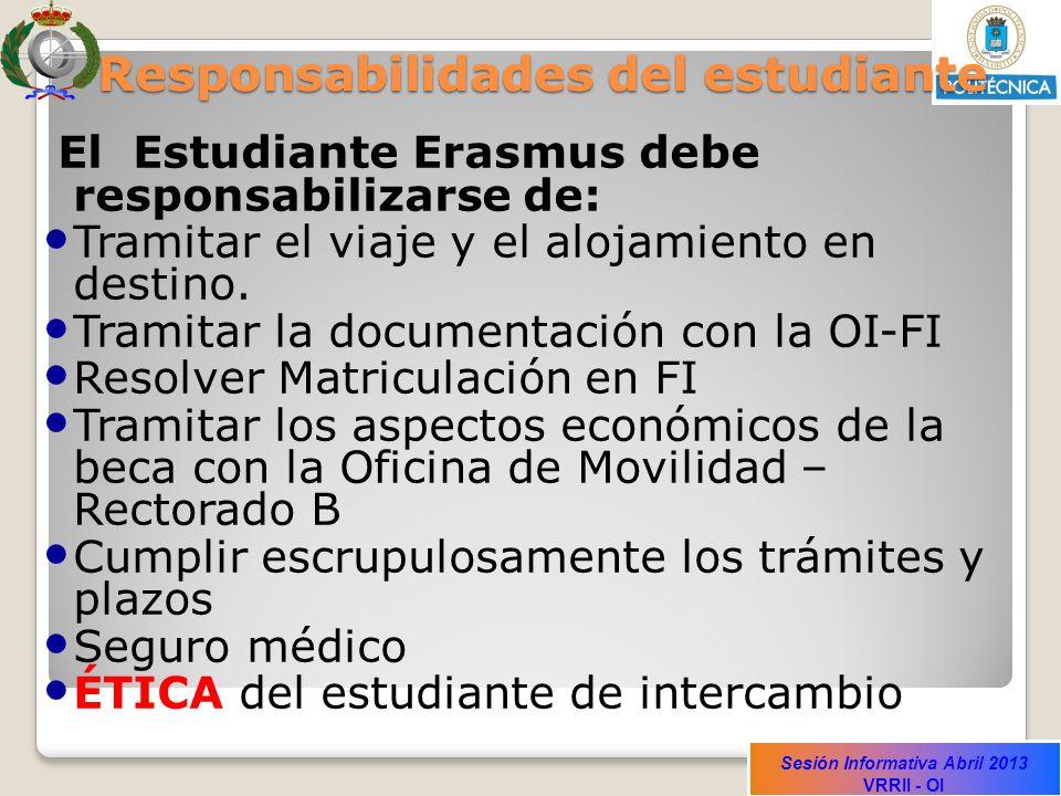 Sesión Informativa Abril 2013 VRRII - OI Responsabilidades del estudiante El Estudiante Erasmus debe responsabilizarse de: Tramitar el viaje y el alojamiento en destino.