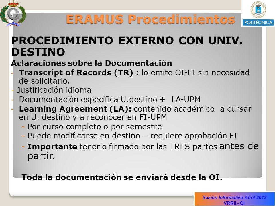 Sesión Informativa Abril 2013 VRRII - OI ERAMUS Procedimientos PROCEDIMIENTO EXTERNO CON UNIV.