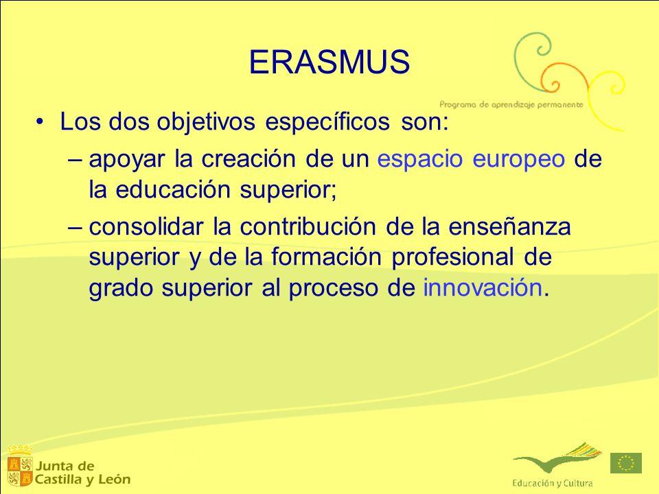 ERASMUS Los dos objetivos específicos son: –apoyar la creación de un espacio europeo de la educación superior; –consolidar la contribución de la enseñ