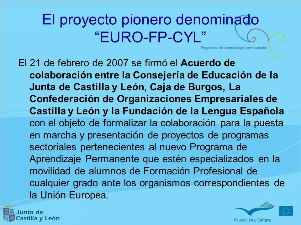El proyecto pionero denominado EURO-FP-CYL El 21 de febrero de 2007 se firmó el Acuerdo de colaboración entre la Consejería de Educación de la Junta d