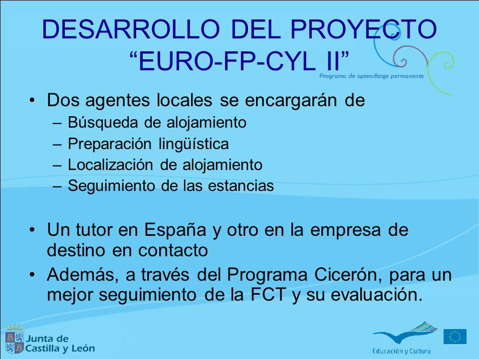 DESARROLLO DEL PROYECTO EURO-FP-CYL II Dos agentes locales se encargarán de –Búsqueda de alojamiento –Preparación lingüística –Localización de alojami