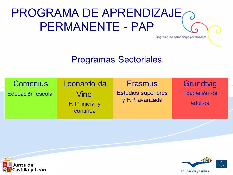 Programas Sectoriales Comenius Educaci ó n escolar Leonardo da Vinci F. P. inicial y continua Erasmus Estudios superiores y F.P. avanzada Grundtvig Ed