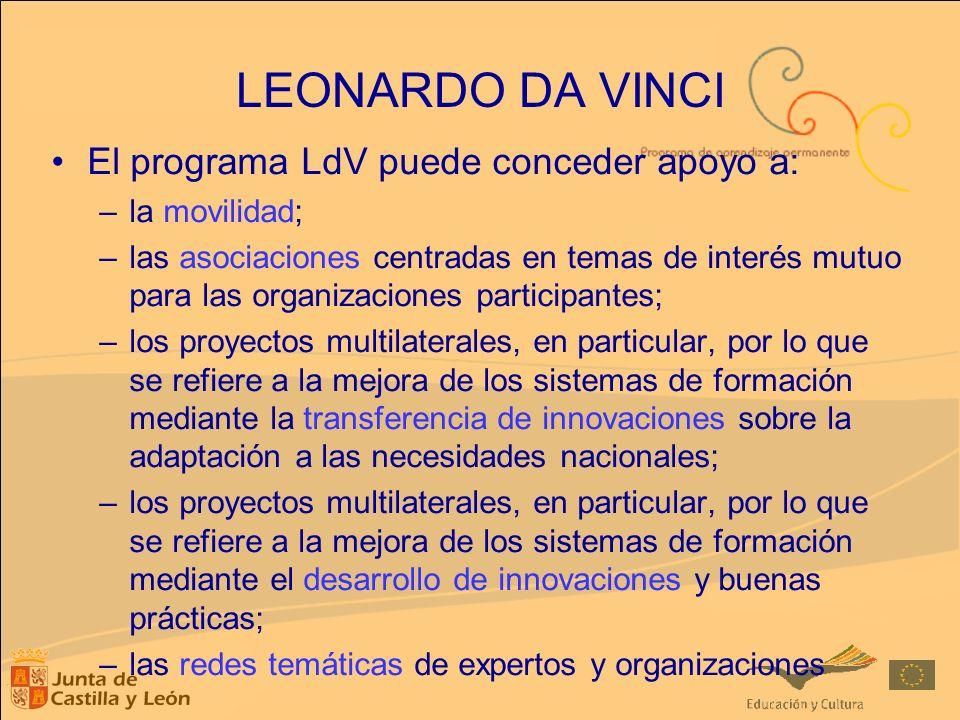 El programa LdV puede conceder apoyo a: –la movilidad; –las asociaciones centradas en temas de interés mutuo para las organizaciones participantes; –l