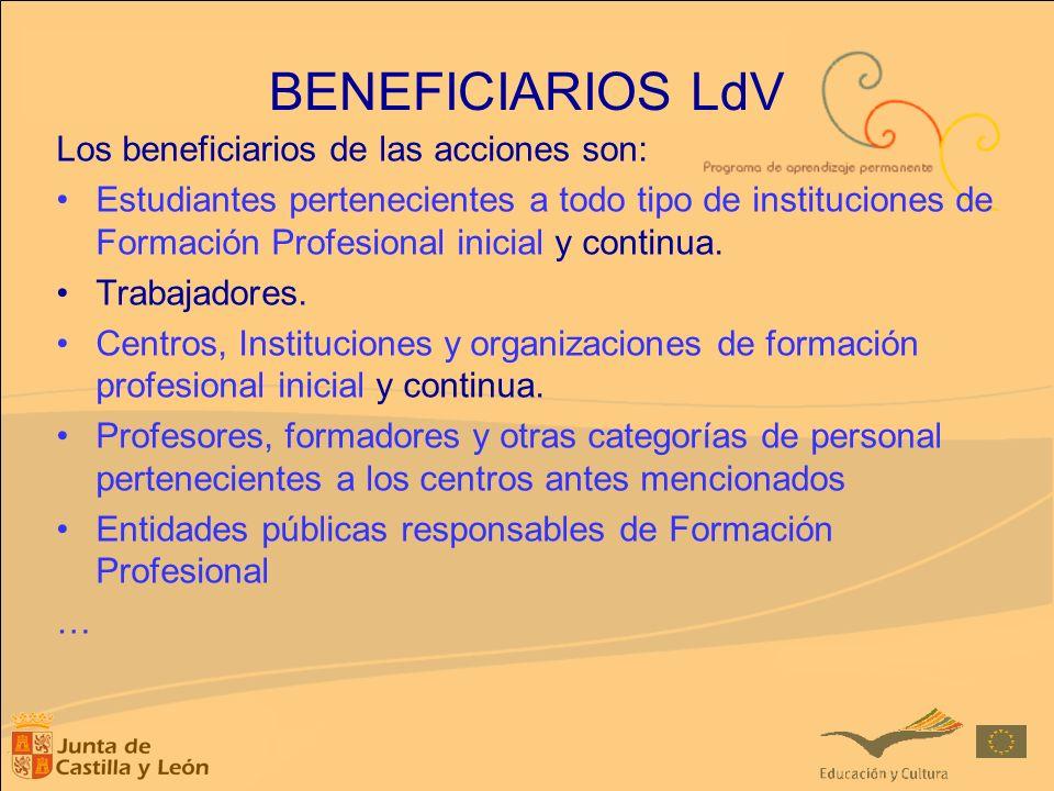 BENEFICIARIOS LdV Los beneficiarios de las acciones son: Estudiantes pertenecientes a todo tipo de instituciones de Formación Profesional inicial y co