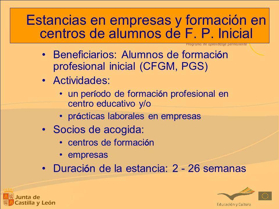 Beneficiarios: Alumnos de formaci ó n profesional inicial (CFGM, PGS) Actividades: un per í odo de formaci ó n profesional en centro educativo y/o pr