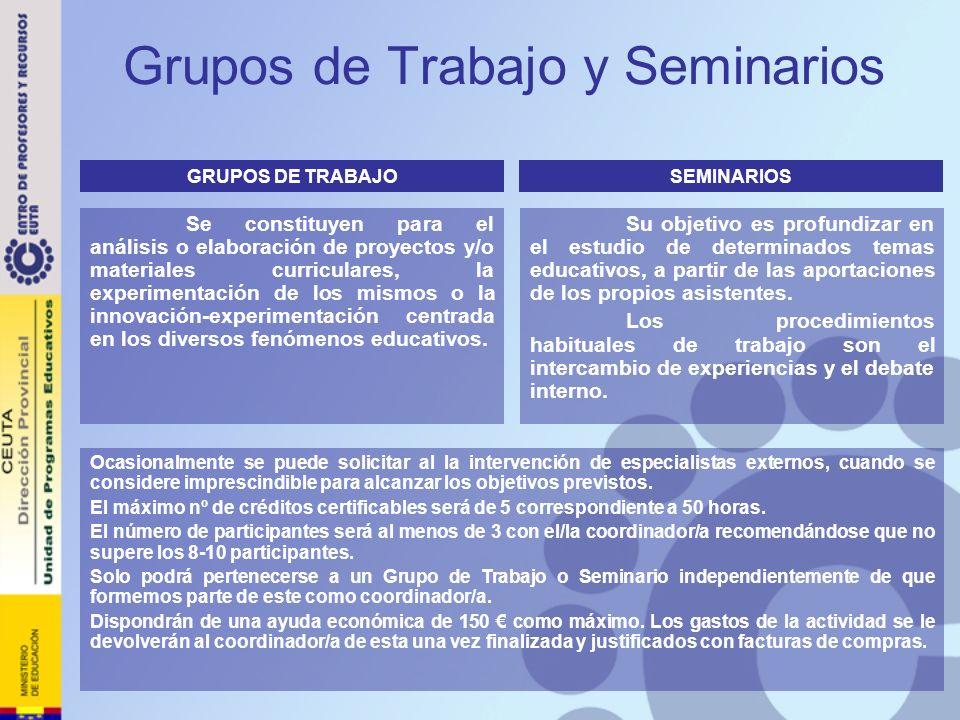 Grupos de Trabajo y Seminarios Se constituyen para el análisis o elaboración de proyectos y/o materiales curriculares, la experimentación de los mismo