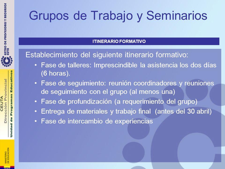 Grupos de Trabajo y Seminarios Establecimiento del siguiente itinerario formativo: Fase de talleres: Imprescindible la asistencia los dos días (6 hora