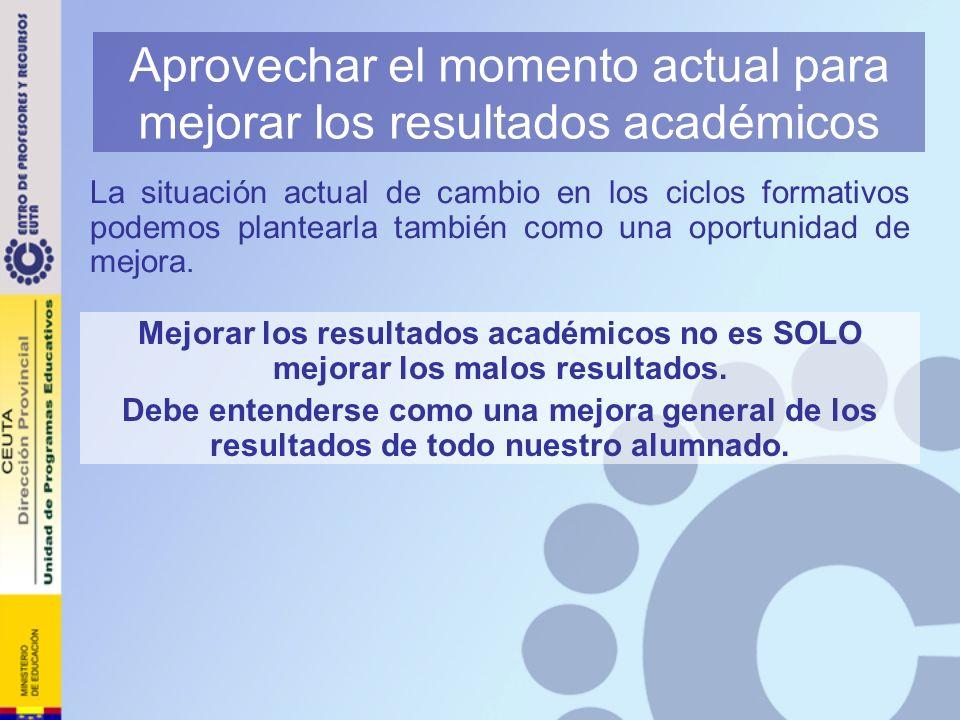 Aprovechar el momento actual para mejorar los resultados académicos La situación actual de cambio en los ciclos formativos podemos plantearla también