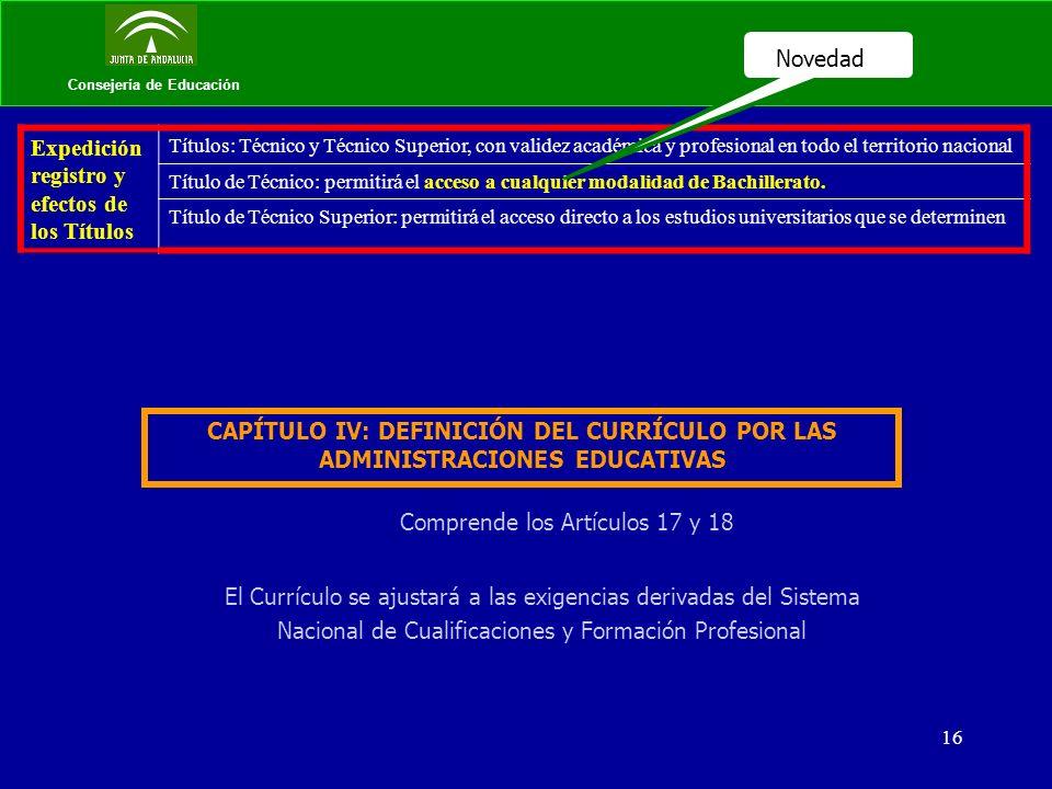 16 Consejería de Educación Expedición registro y efectos de los Títulos Títulos: Técnico y Técnico Superior, con validez académica y profesional en to