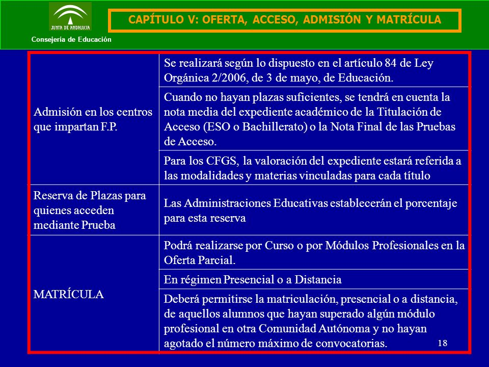 18 Consejería de Educación CAPÍTULO V: OFERTA, ACCESO, ADMISIÓN Y MATRÍCULA Admisión en los centros que impartan F.P. Se realizará según lo dispuesto