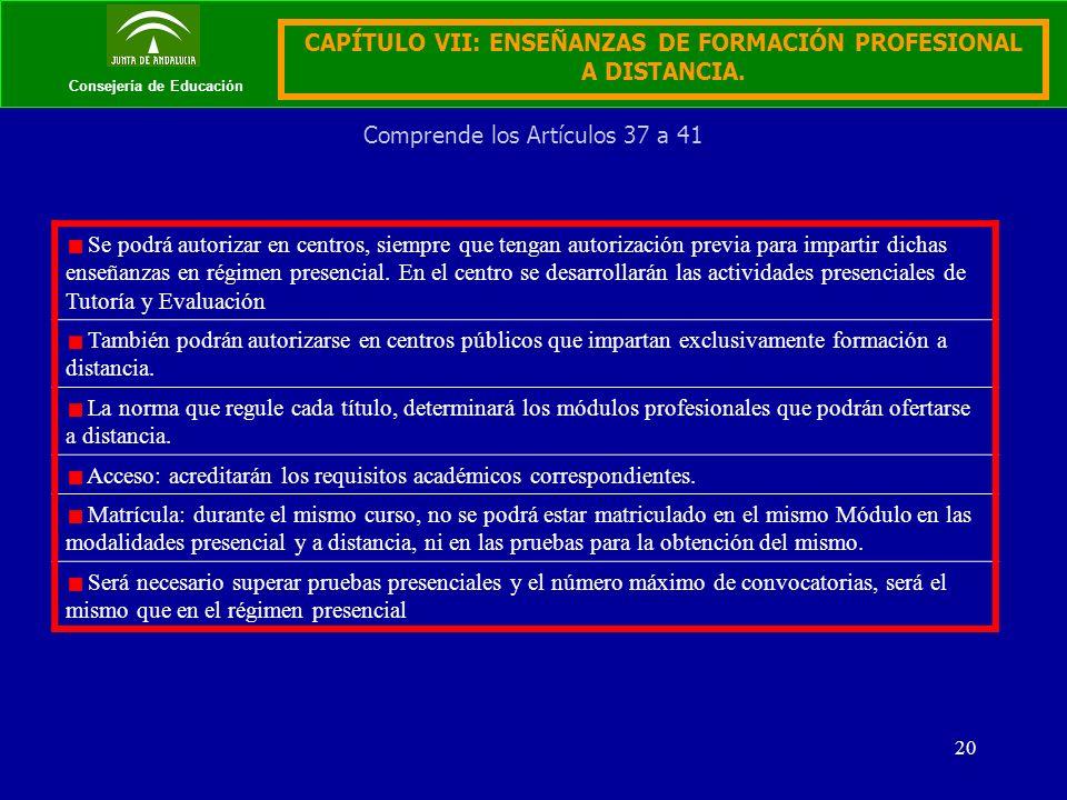 20 Consejería de Educación CAPÍTULO VII: ENSEÑANZAS DE FORMACIÓN PROFESIONAL A DISTANCIA.
