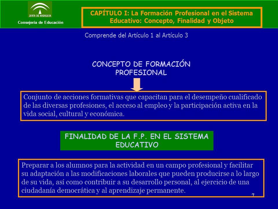 7 Consejería de Educación CONCEPTO DE FORMACIÓN PROFESIONAL Conjunto de acciones formativas que capacitan para el desempeño cualificado de las diversas profesiones, el acceso al empleo y la participación activa en la vida social, cultural y económica.