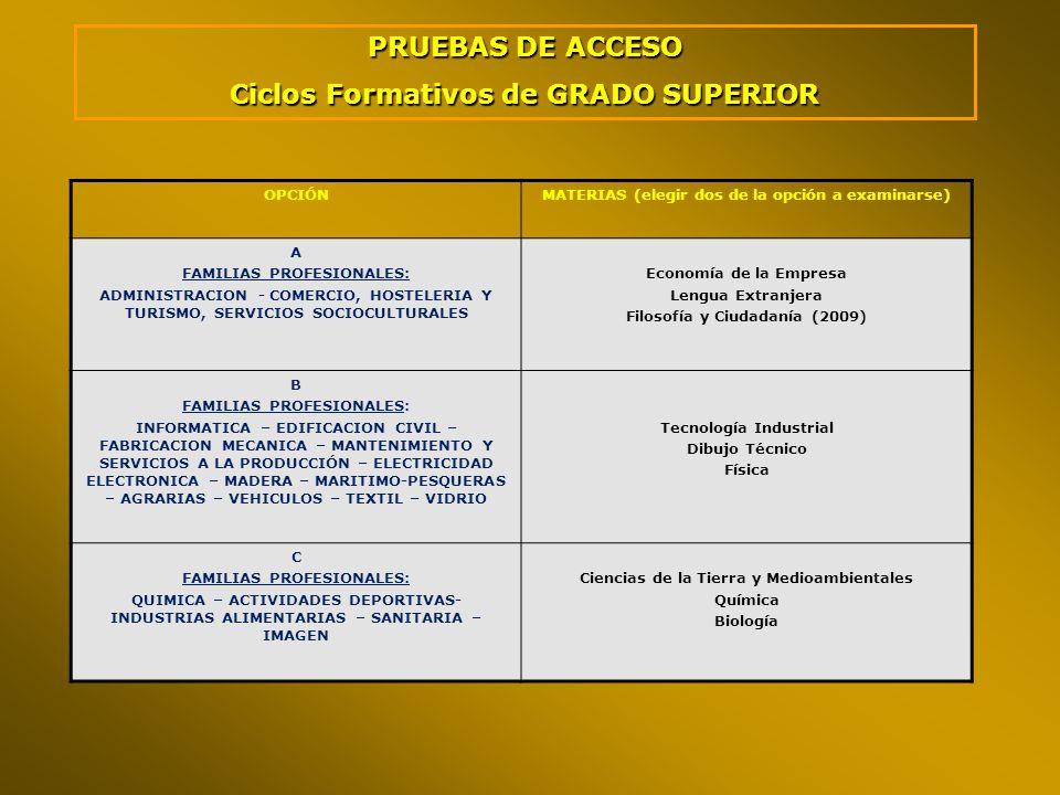 OPCIÓNMATERIAS (elegir dos de la opción a examinarse) A FAMILIAS PROFESIONALES: ADMINISTRACION - COMERCIO, HOSTELERIA Y TURISMO, SERVICIOS SOCIOCULTUR