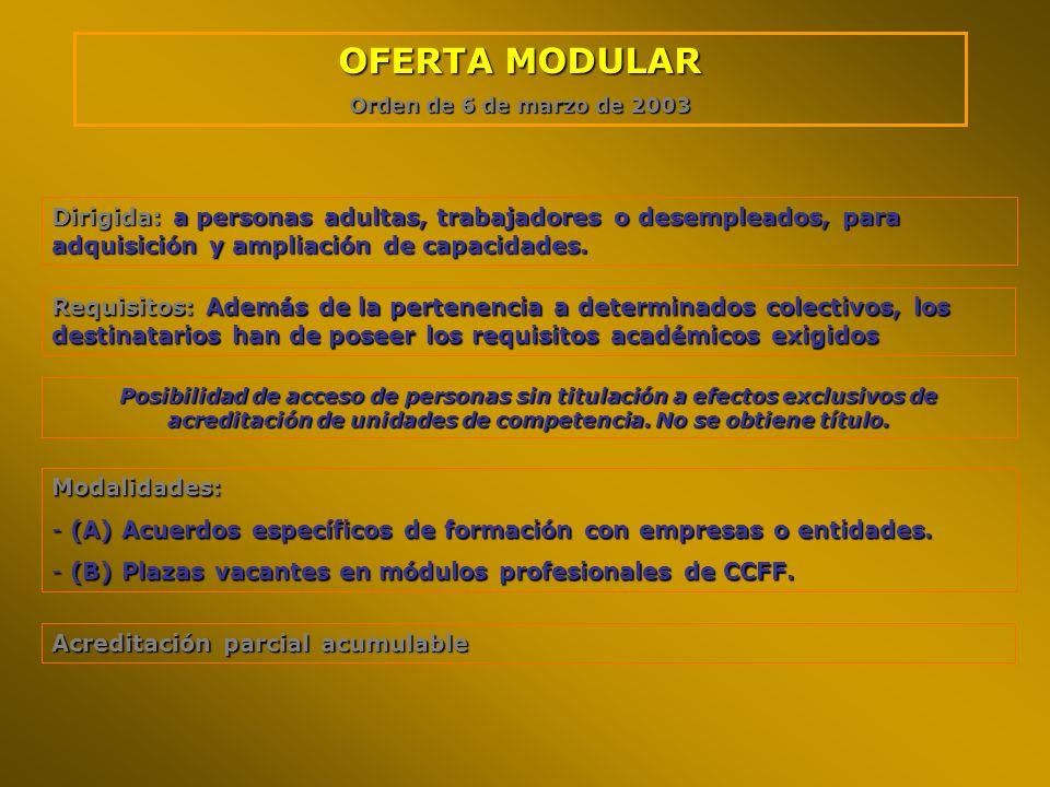 OFERTA MODULAR Orden de 6 de marzo de 2003 Dirigida: a personas adultas, trabajadores o desempleados, para adquisición y ampliación de capacidades. Re