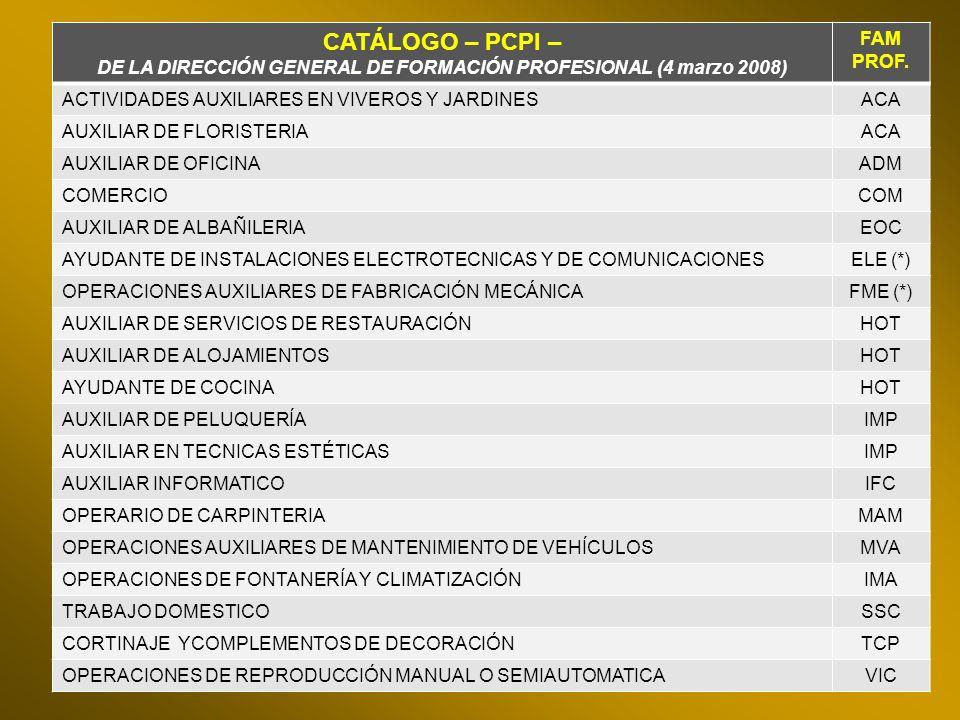 CATÁLOGO – PCPI – DE LA DIRECCIÓN GENERAL DE FORMACIÓN PROFESIONAL (4 marzo 2008) FAM PROF. ACTIVIDADES AUXILIARES EN VIVEROS Y JARDINESACA AUXILIAR D
