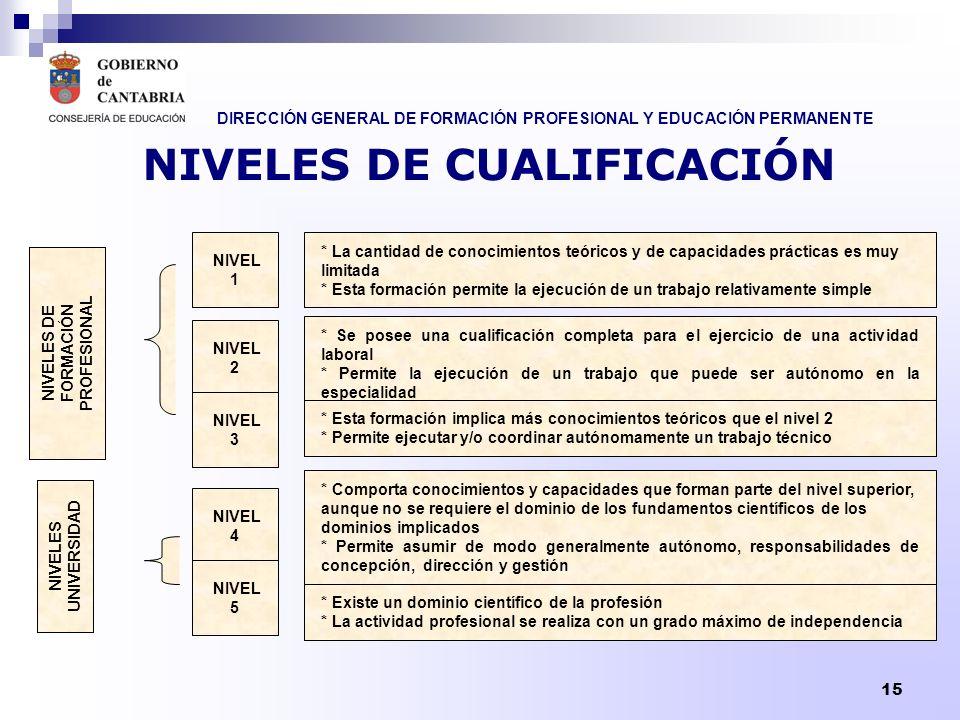 DIRECCIÓN GENERAL DE FORMACIÓN PROFESIONAL Y EDUCACIÓN PERMANENTE 15 NIVELES DE CUALIFICACIÓN * La cantidad de conocimientos teóricos y de capacidades