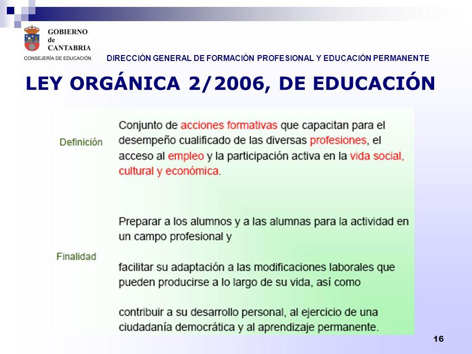 DIRECCIÓN GENERAL DE FORMACIÓN PROFESIONAL Y EDUCACIÓN PERMANENTE 17 LA FORMACIÓN PROFESIONAL La Formación Profesional incluye: Las enseñanzas propias de la Formación Profesional Inicial.