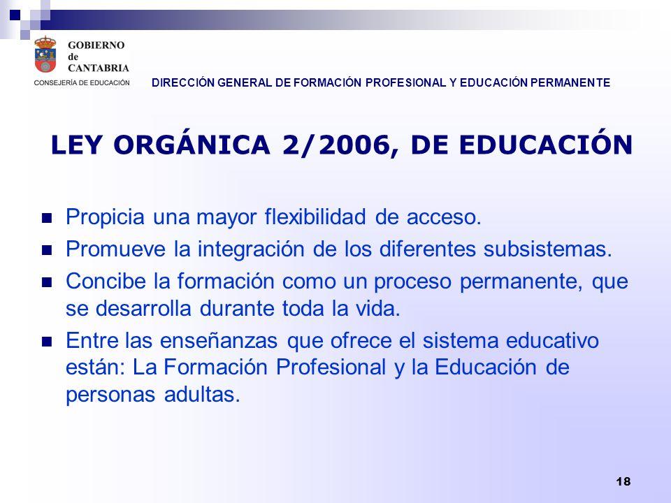 DIRECCIÓN GENERAL DE FORMACIÓN PROFESIONAL Y EDUCACIÓN PERMANENTE 18 LEY ORGÁNICA 2/2006, DE EDUCACIÓN Propicia una mayor flexibilidad de acceso. Prom