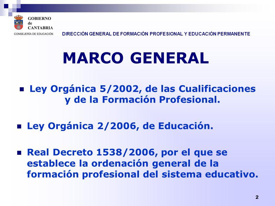 DIRECCIÓN GENERAL DE FORMACIÓN PROFESIONAL Y EDUCACIÓN PERMANENTE 2 Ley Orgánica 5/2002, de las Cualificaciones y de la Formación Profesional. Ley Org
