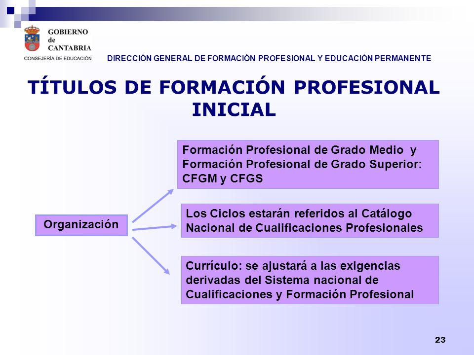 DIRECCIÓN GENERAL DE FORMACIÓN PROFESIONAL Y EDUCACIÓN PERMANENTE 23 TÍTULOS DE FORMACIÓN PROFESIONAL INICIAL Organización Formación Profesional de Gr
