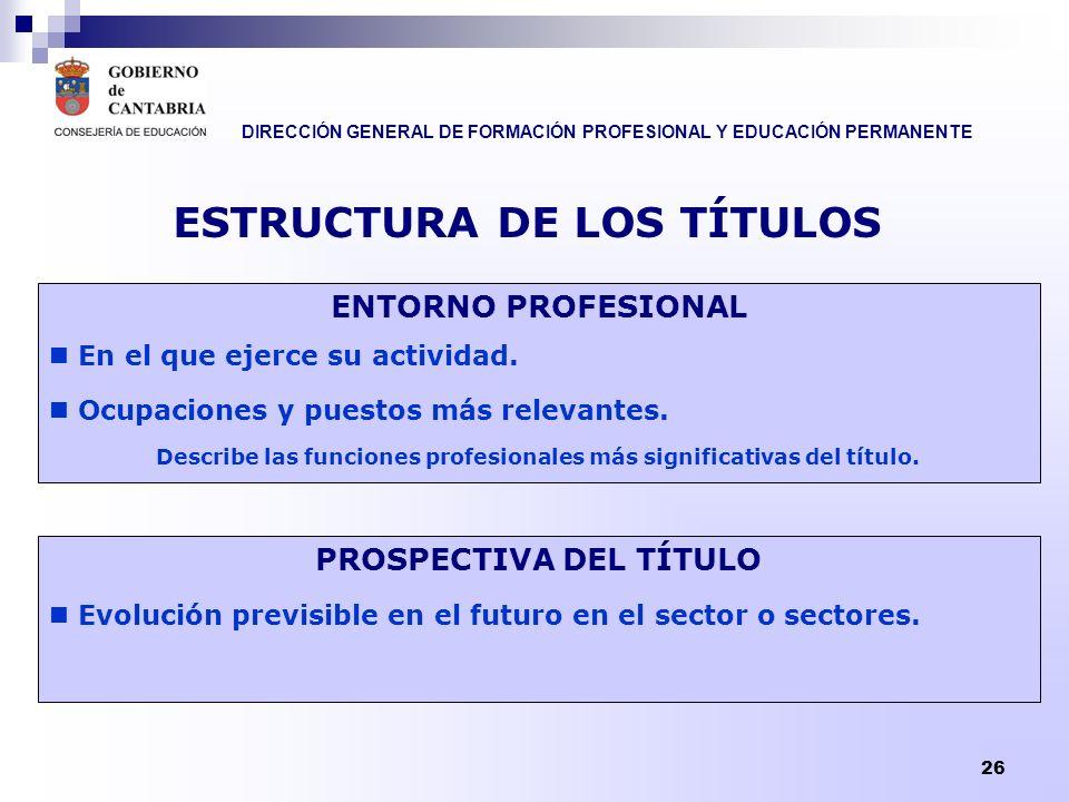 DIRECCIÓN GENERAL DE FORMACIÓN PROFESIONAL Y EDUCACIÓN PERMANENTE 26 ESTRUCTURA DE LOS TÍTULOS ENTORNO PROFESIONAL En el que ejerce su actividad. Ocup