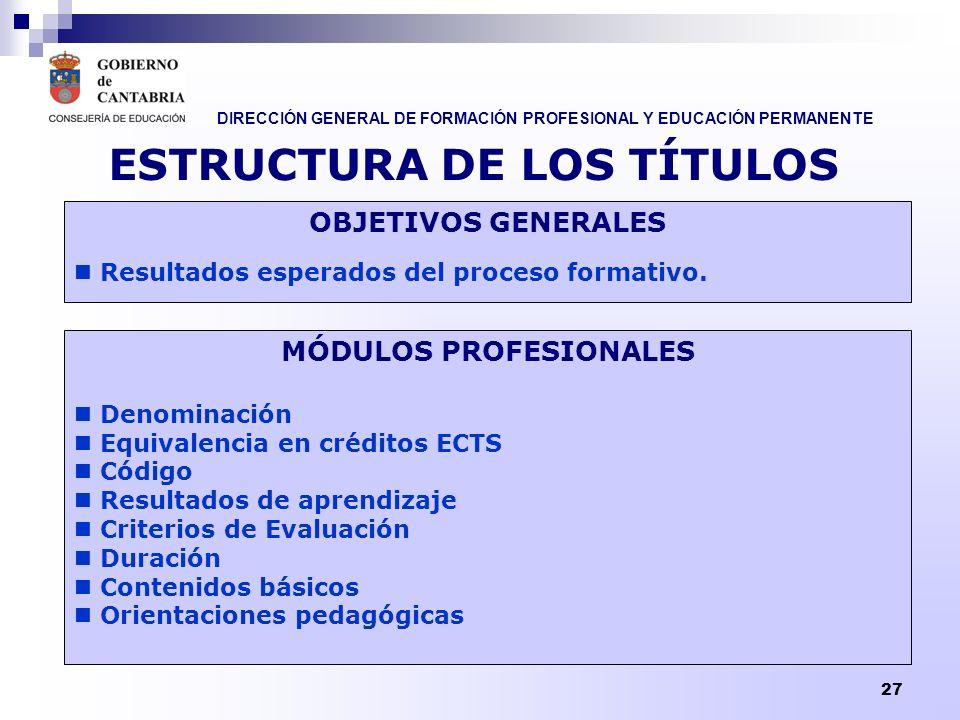DIRECCIÓN GENERAL DE FORMACIÓN PROFESIONAL Y EDUCACIÓN PERMANENTE 27 ESTRUCTURA DE LOS TÍTULOS OBJETIVOS GENERALES Resultados esperados del proceso fo