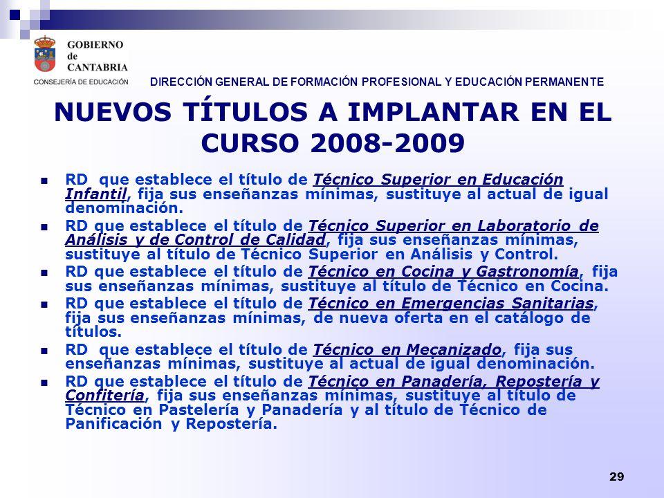 DIRECCIÓN GENERAL DE FORMACIÓN PROFESIONAL Y EDUCACIÓN PERMANENTE 30 NUEVOS TÍTULOS A IMPLANTAR EN EL CURSO 2009-2010 Técnico Superior en gestión de alojamientos turísticos.